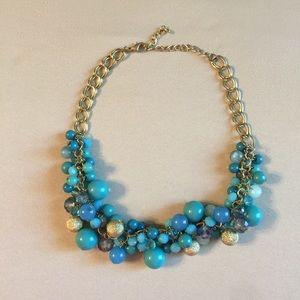 Francesca's blue & gold statement necklace